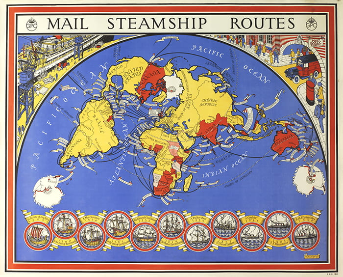 A colourful drawn map of the world showing mail steamship routes