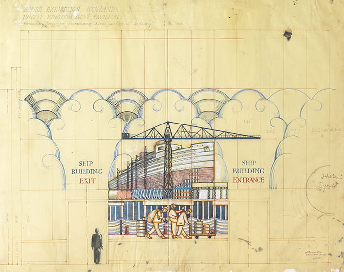 An original watercolour depicting a shipbuilding yard with travelling people on foreground