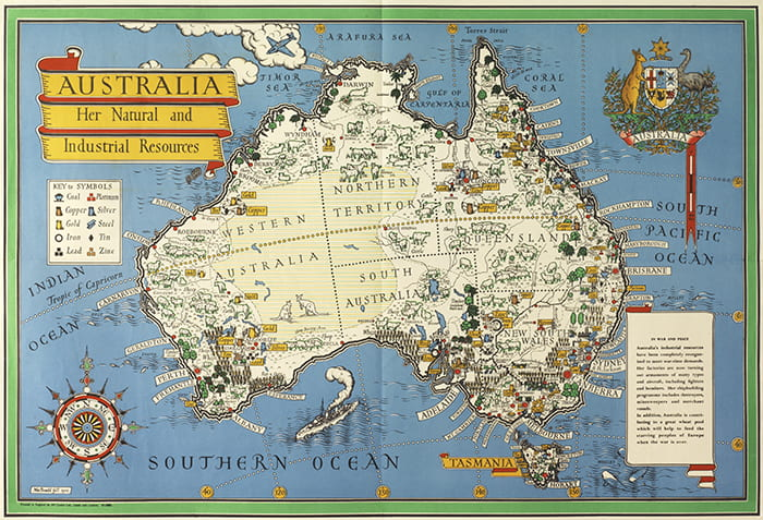 A colourful drawn map showing Australia's natural and industrial resources by Max Gill