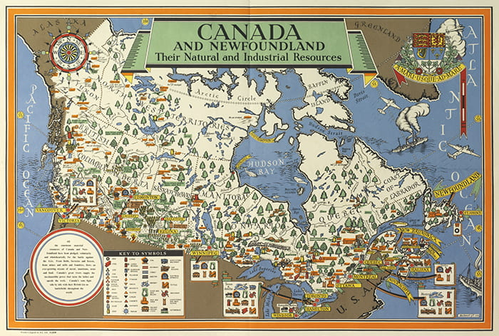 A colourful drawn poster showing Canada and Newfoundland's natural and industrial resources