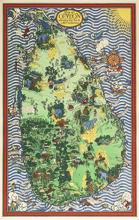 A colourful drawn map showing Ceylon and its tea industry