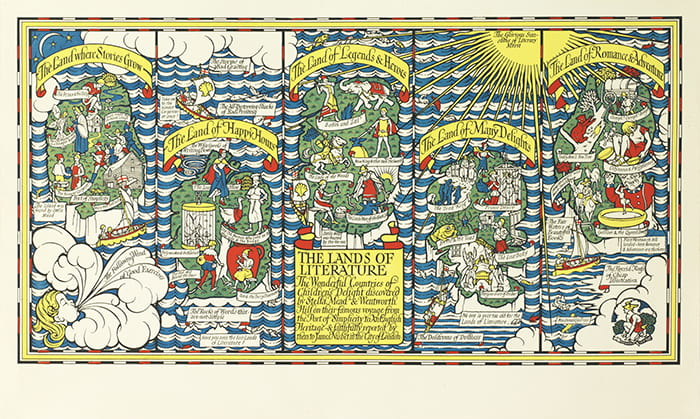 A colourful illustrated poster depicting Lands of Literature