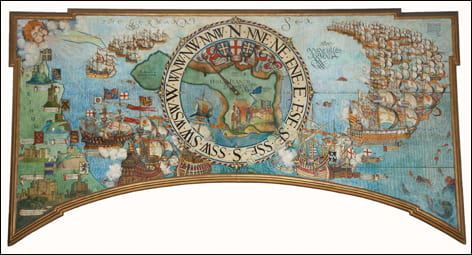 Photographic reproduction of painted wind gauge map panel in Lindisfarne