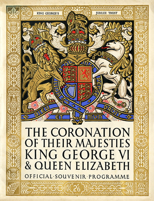 A gold and vibrant colour cover of a souvenir pamphlet for the Coronation of King George VI and Queen Elizabeth