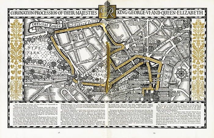 A hand drawn black, white and gold map of London showing procession route for Coronation of King George VI and Queen Elizabeth