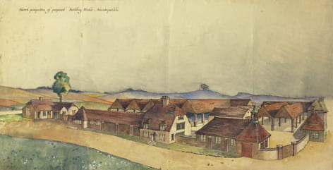 Original watercolour sketch of proposed building works for Briantspuddle