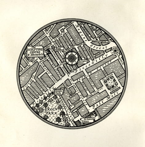 A black and white map by MacDonald Gill showing the Sculpture Center