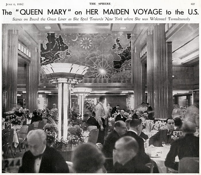 Black and white image showing photo of dining room on the Queen Mary