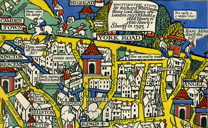 Detail from a colourful poster map of the London Underground entitled Wonderground