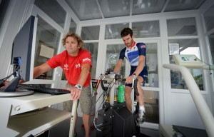 Paralympian David Stone training at the University of Brighton's Eastbourne Campus.