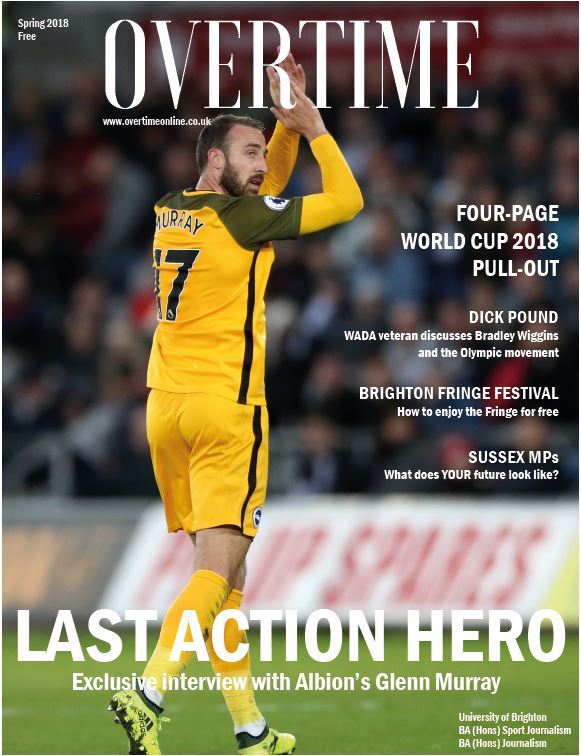 Front cover of Overtime magazine featuring Albion's Glenn Murray