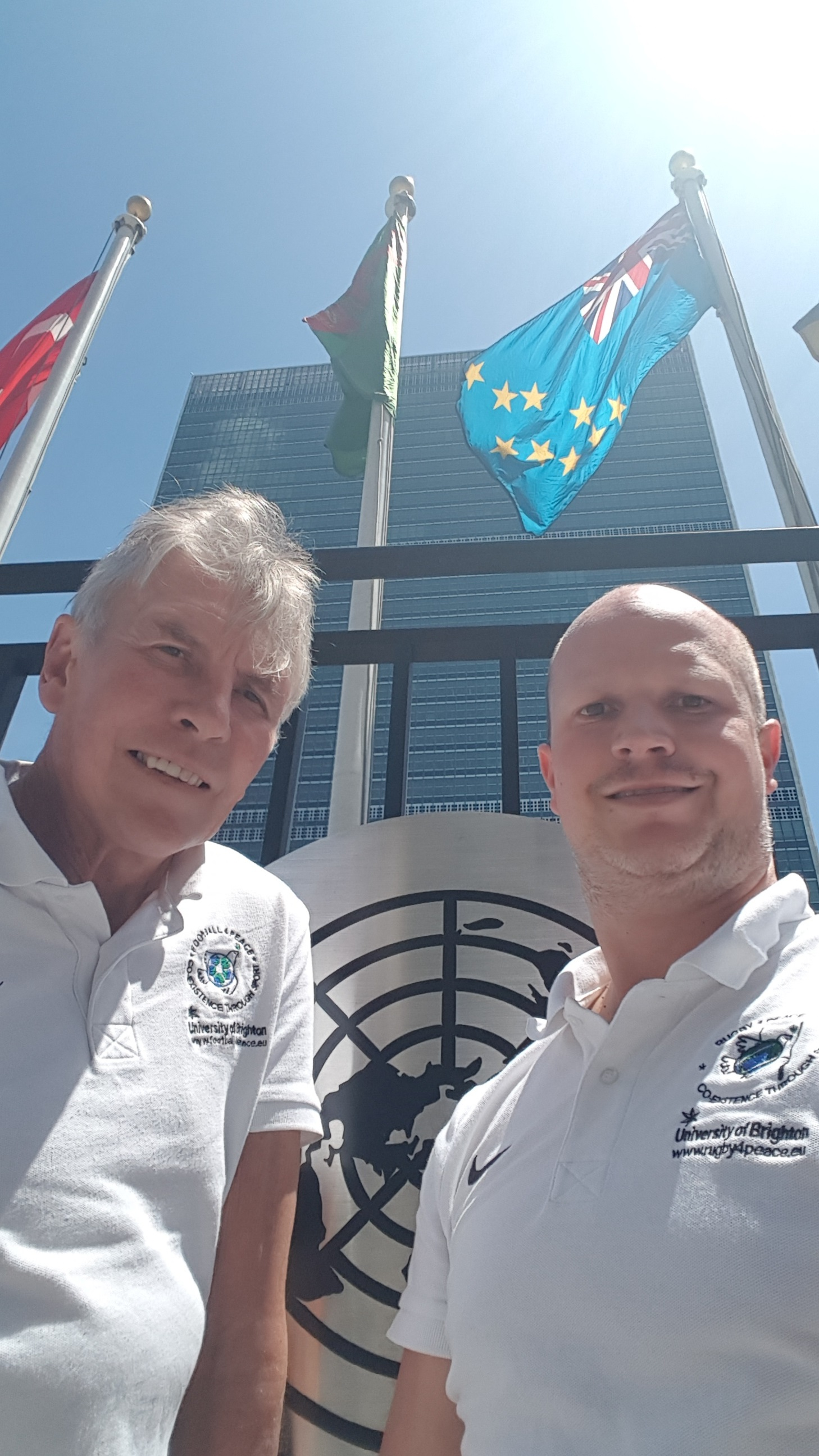Photo of John Sugden and Graham Spacey outside the UN building