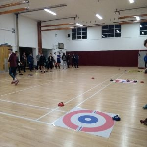 The students practise their New Age Kurling