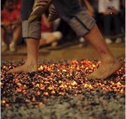 feet walking across hot coals