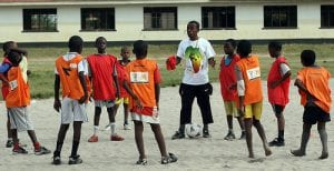 Children playing football in Africa