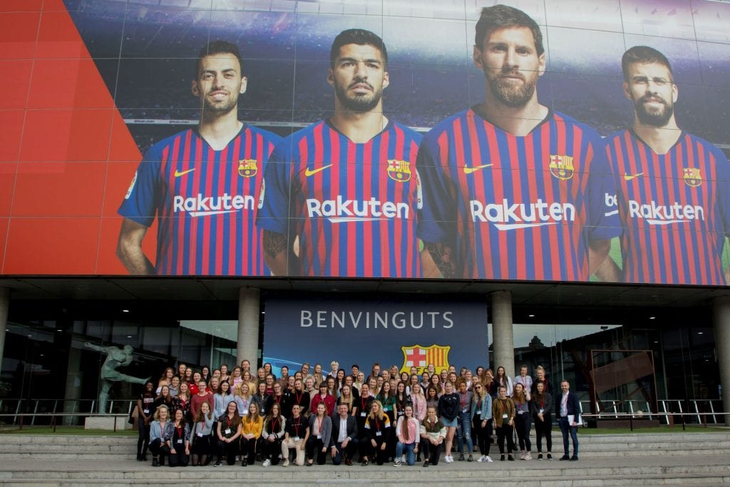 Dominique and the Women in Football group at Camp Nou