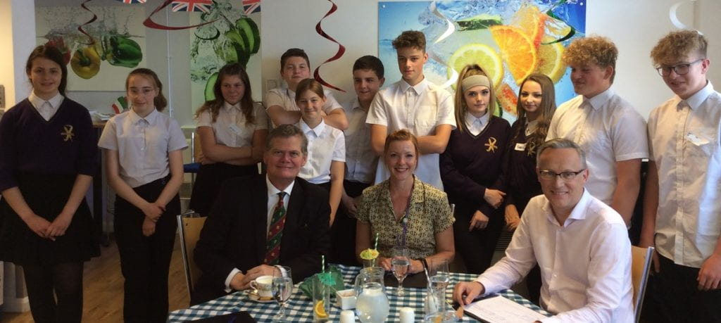 Judges Stephen Lloyd MP, Jo Harris, Outreach Coordinator and Chris Dutton, Deputy Head of School with some of the students who took part