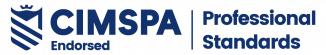 The CIMSPA endorsed logo which is blue wording saying CIMSPA endorsed professional standards