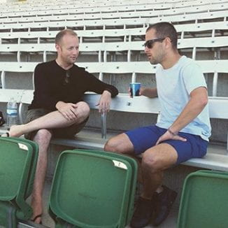 Owen Evans interviewing ex-footballer Joe Cole