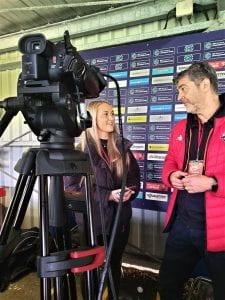 Daniella interviewing the director