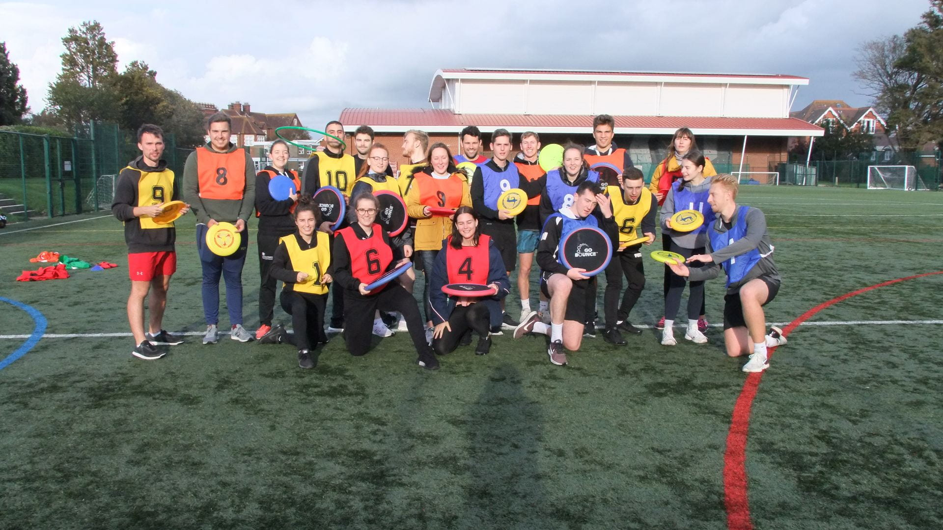 the group with their frisbees
