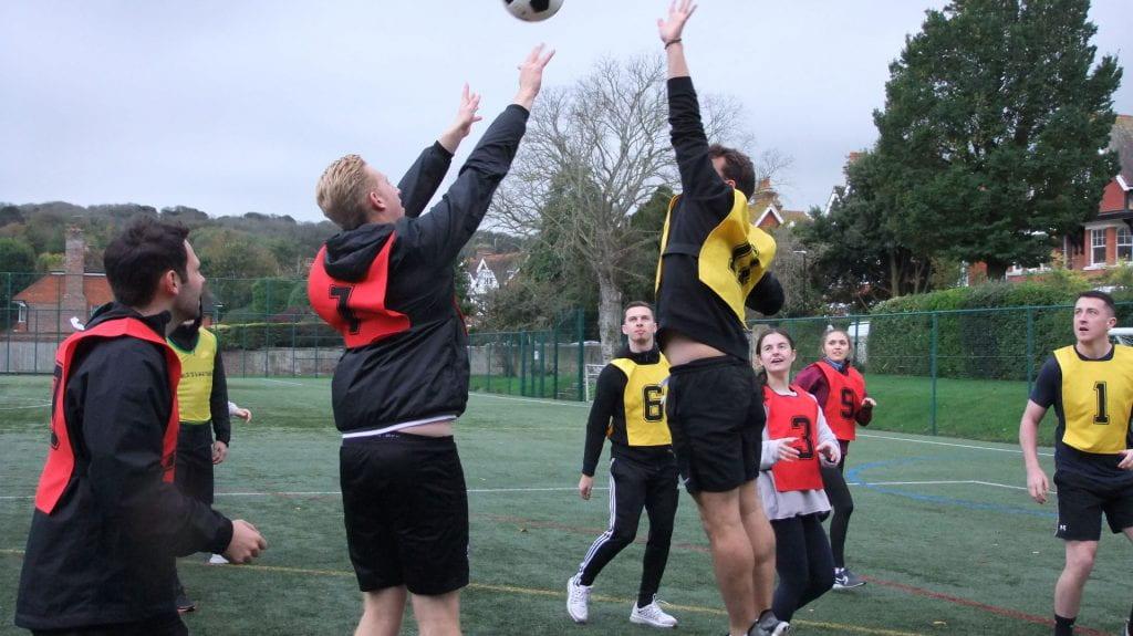 photo of students playing handball