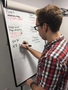 Jamie Edkins in the newsroom