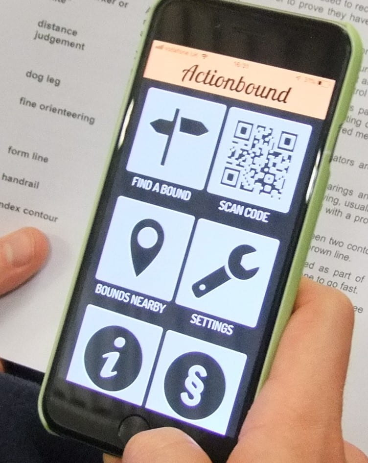 a phone showing the orienteering app