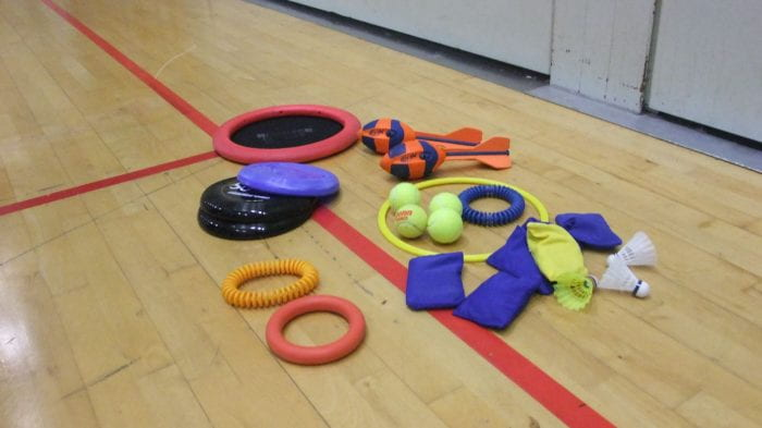 sports equipment on the gym floor