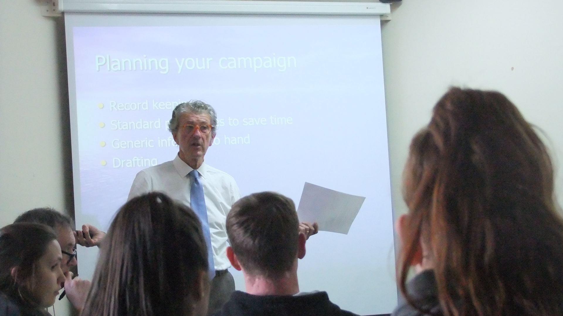 Peter talking to the trainee teachers