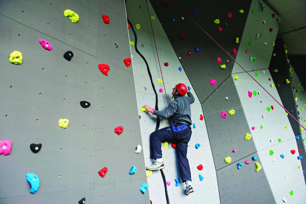 the climbing wall at Eastbourne campus