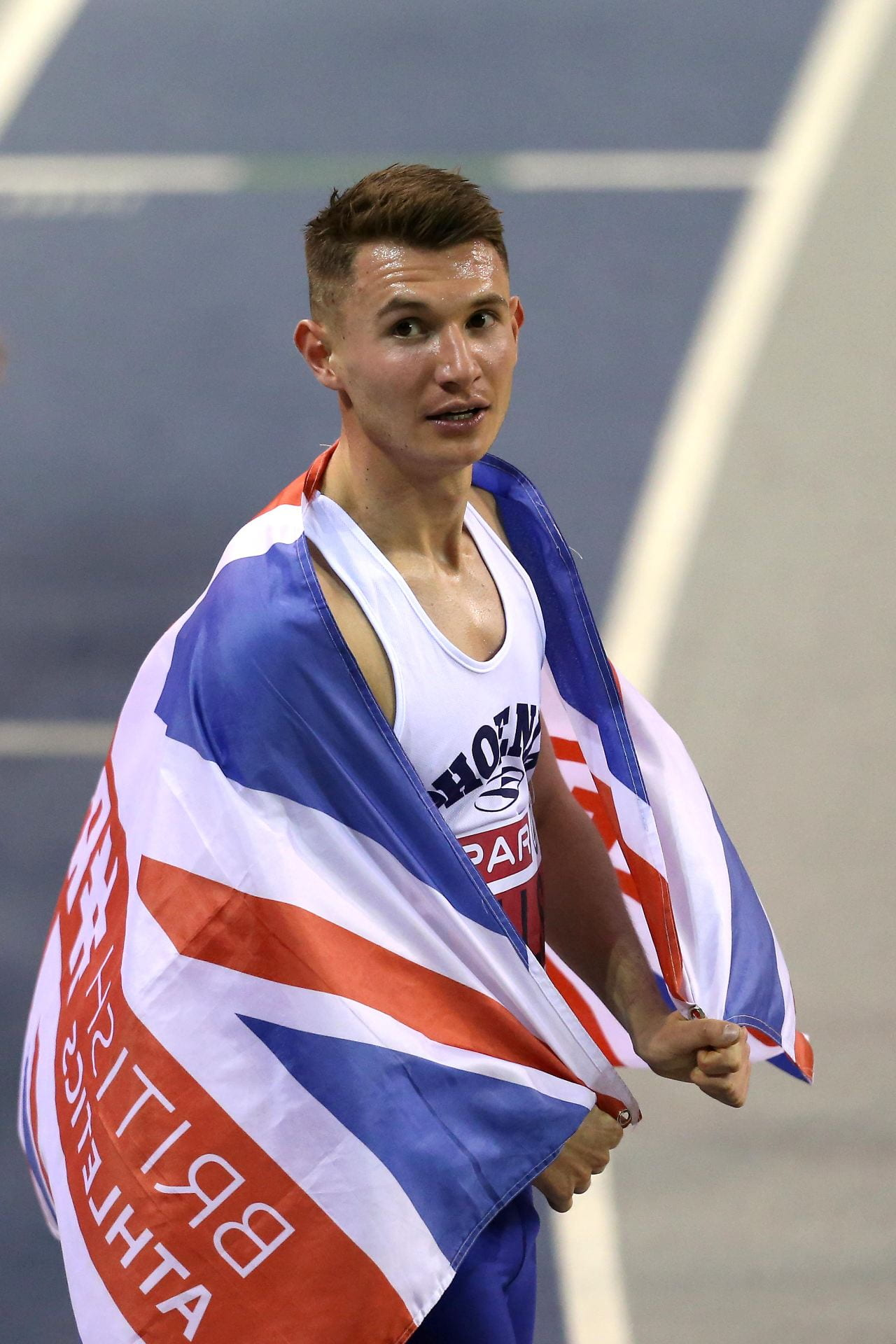 George wrapped in the Union Jack at the British championship