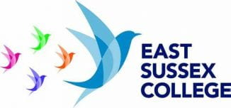East Sussex College logo whihc has 5 flying birds as part of it