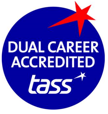 The TASS accredited logo which is a blue circle with a red star
