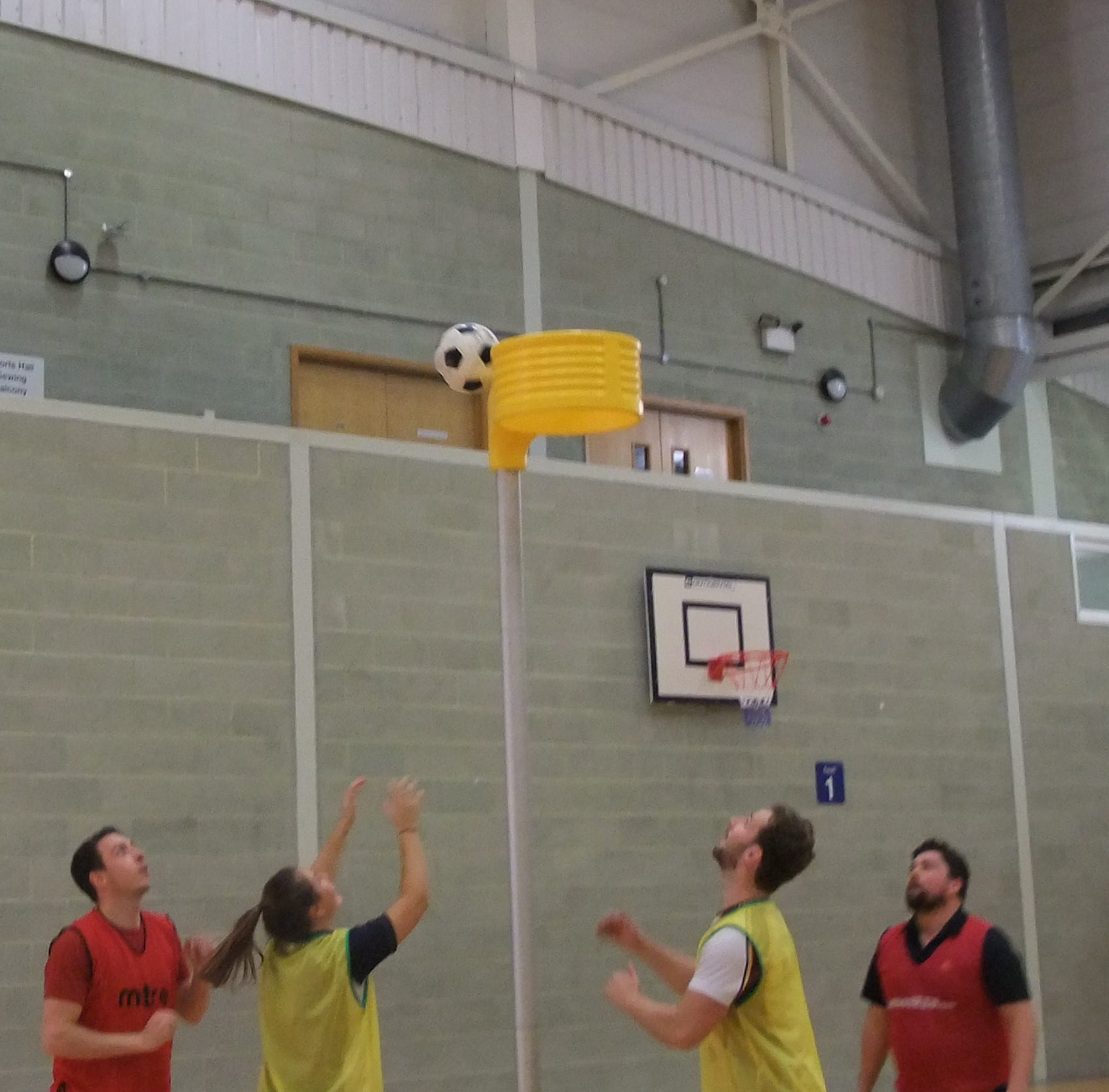 students shooting at the net