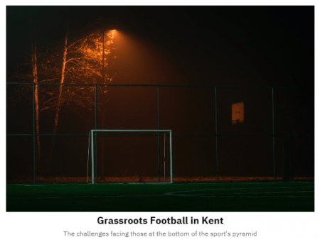 home page of Joe's website featuring a floodlit goal