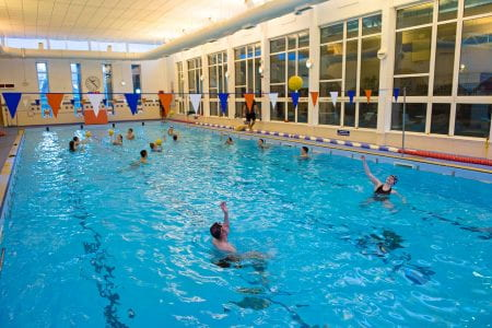 Students in the university's swimming pool
