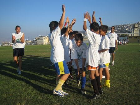 Children playing football in Israel