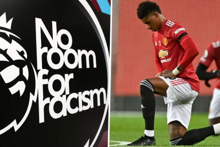 no room for racism wording and photo of Marcus Rashford
