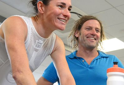 Dr Gary Brickley training with Dame Sarah Storey
