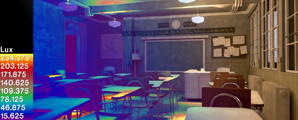 Lighting simulation of Blender's classroom scene