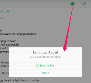 create reminder in evernote