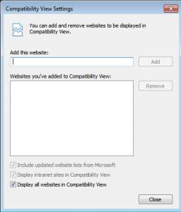 Compatibility view settings dialogue box