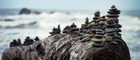 Stacked pebbles near the sea