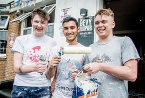 Volunteer students at the Bevy pub