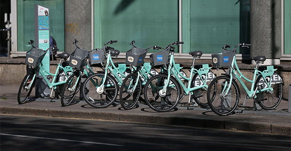 Rented cycles outside Grand Parade, City Campus