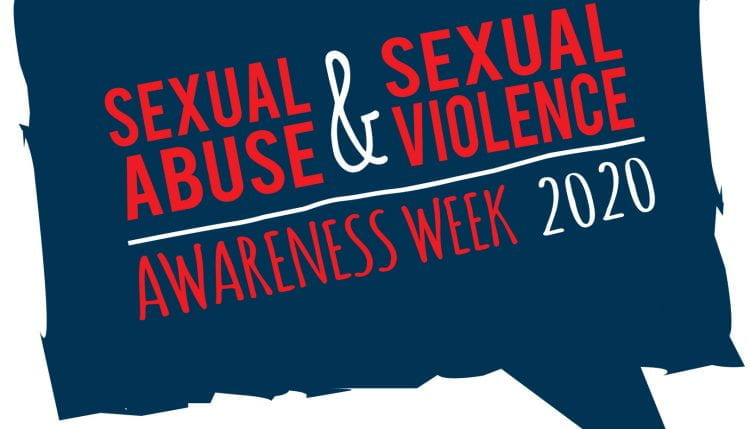 graphical image with text 'Sexual Abuse and Sexual Violence Awareness Week 2020'