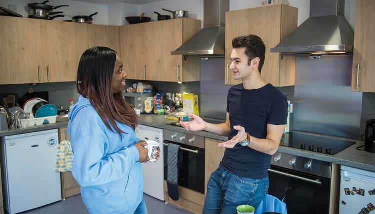 Students in a kitchen at Varley Halls