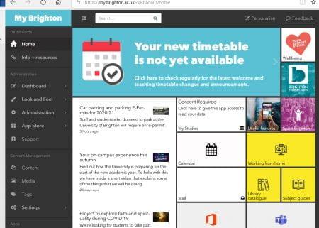 Screenshot of My Brightonhome screen on a desktop