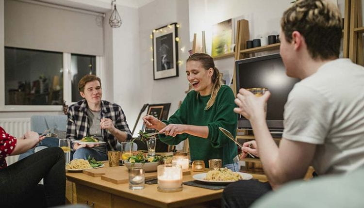 Young Couples Having Dinner at Home
